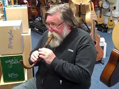 Keith playing a Crumhorn @ Hobgoblin Music Birmingham