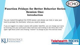Function Fridays for Better Behavior Session 1- Introduction