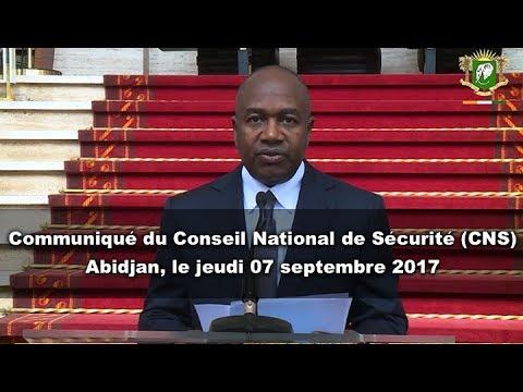 Communiqué du Conseil National de Sécurité, du jeudi 07 septembre 2017