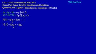csec cxc maths past paper 2 question 2c may 2012 exam solutions answers by will edutech