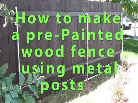 How to make construct a pre-painted wood cedar fence using metal post Part 1 Save $$ DIY