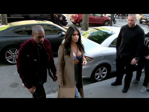 VERY DARING dress Kim Kardashian and Kanye West go to Montaigne Market in Paris