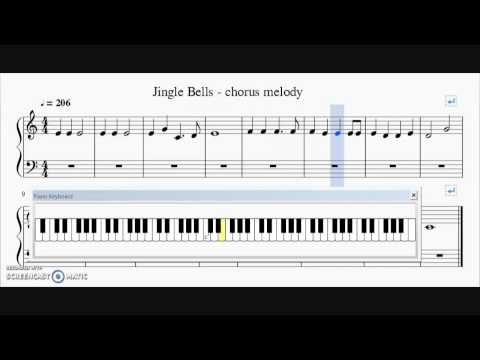 Jingle Bells - Chorus Melody - Easy Piano Sheet Music with Keyboard Notes