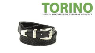 Torino Woven Italian Leather Belt - Nickel Buckle And Tip (for Men)