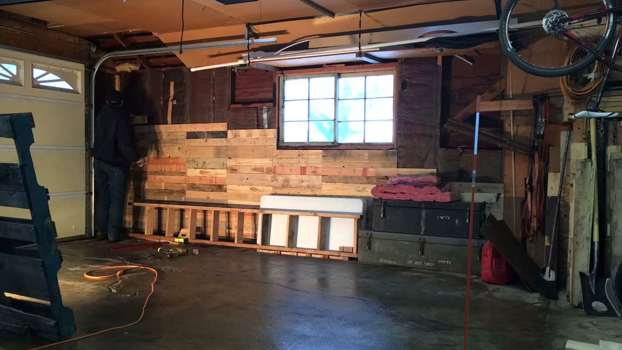 Building Pallet Wood Wall In Garage Youtube