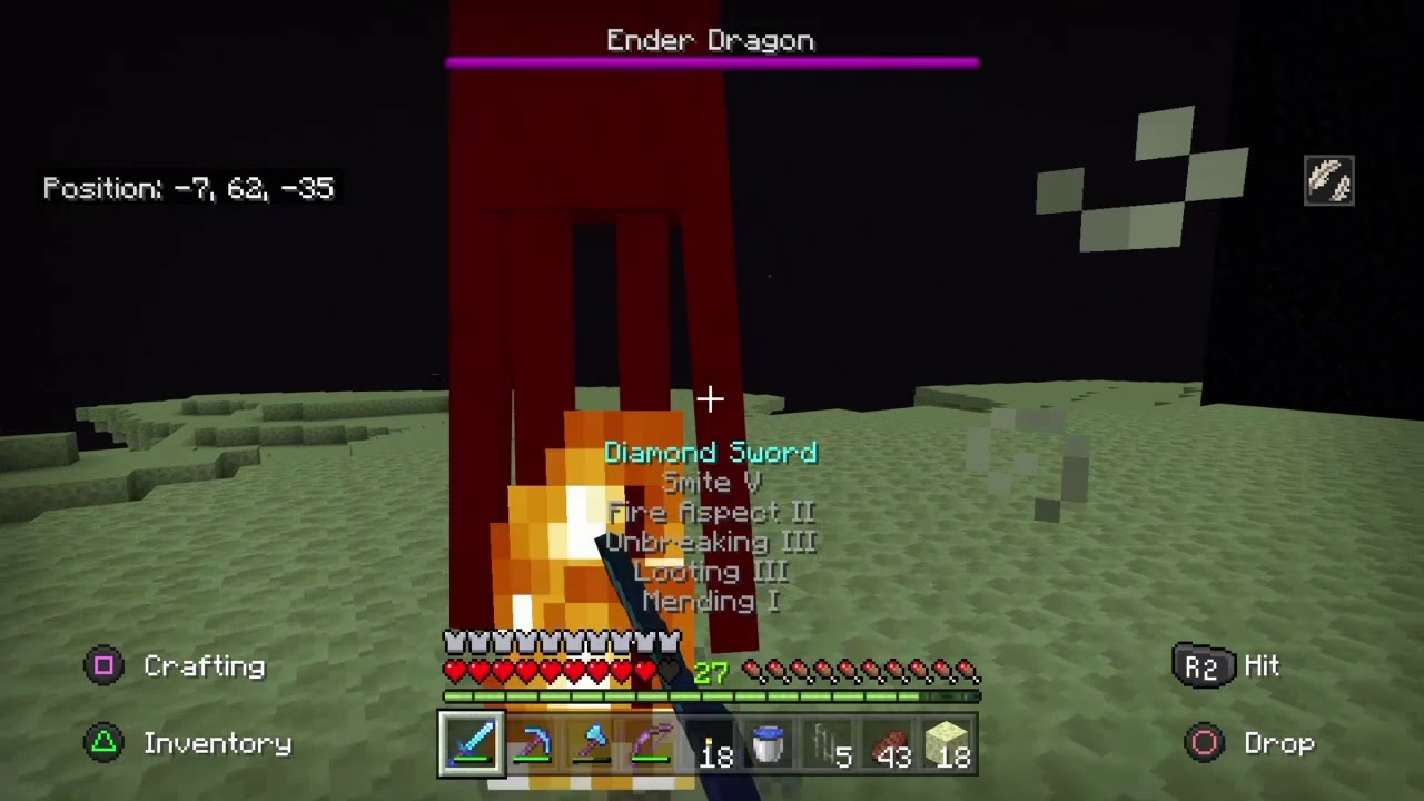 Fighting the Ender Dragon Minecraft ps8 bedrock series part 8