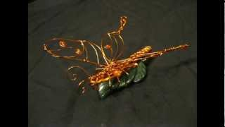 Butterfly On A Leaf Wire Sculpture