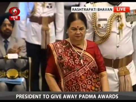 Kokilaben Ambani receieves Padma Vibhushan(Posthumous) Award for Shri Dhirubhai Ambani