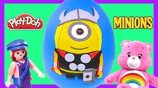 thor minion giant play doh surprise egg play dough marvel avengers toys juguetes sorpresas