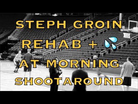 Steph Curry (strained groin) rehab w/ Rick Celebrini, splashes 3s & from logo at morning shootaround