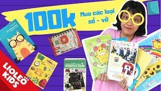 Thử thách 100k chị Lio mua các loại sổ - vở độc đáo - Bé học tiếng Anh cùng Lioleo Kids