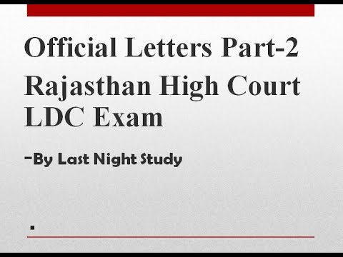 Rajasthan High Court Ldc Typing Test  Official Letter Format Part