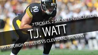 T.J. Watt STEELERS DEBUT Highlights vs Browns // 7 Tackles, 2 Sacks, 1 Interception // 9.10.17