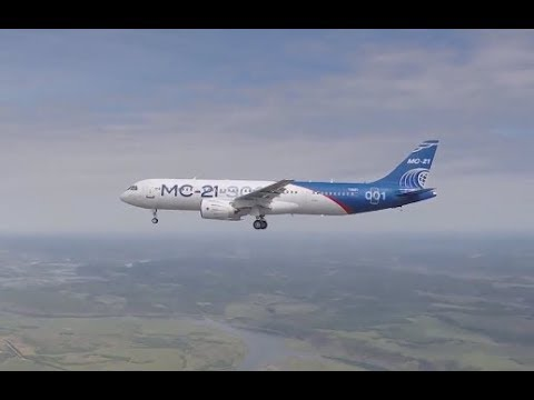 First flight of 'Irkut' MC-21-300 airliner (Eng. subtitles)