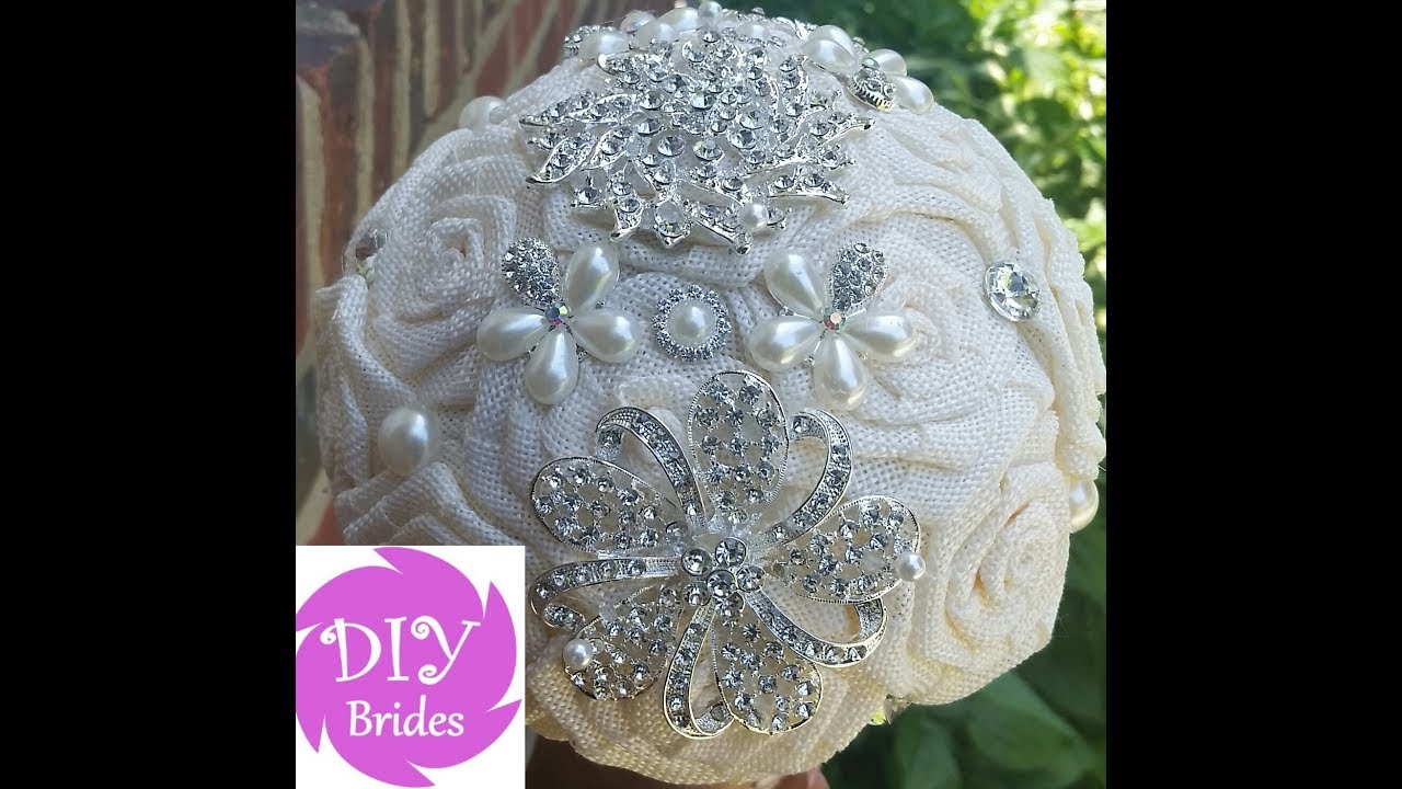 DIY Wedding Bridal Brooch Bouquet Kit Diana Burlap Roses - YouTube