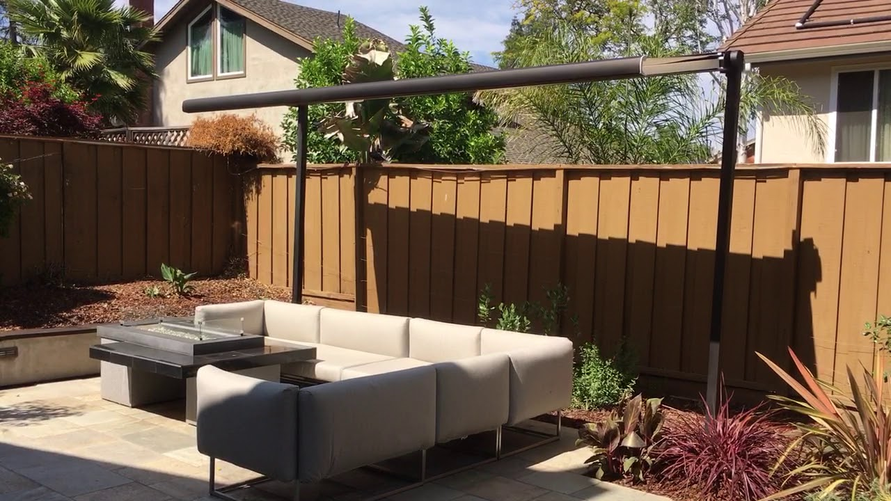 Free standing solaris retractable awning - YouTube