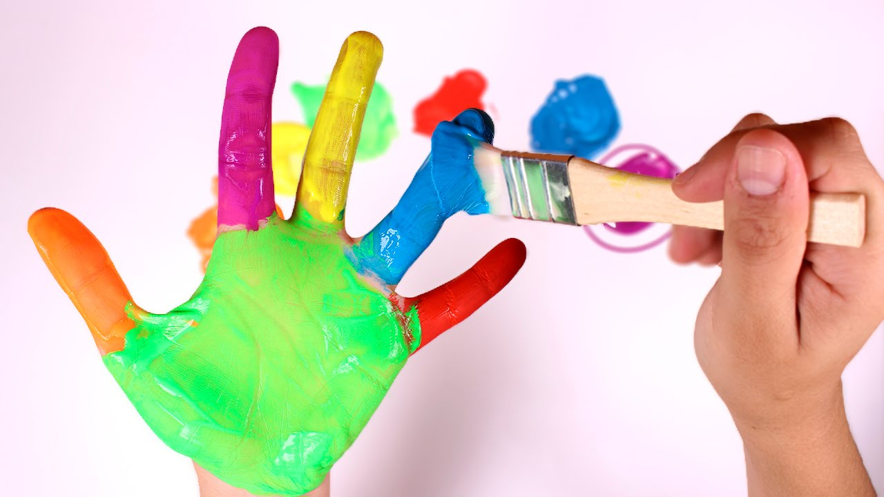 LOS COLORES  Pintar la mano de colores  Aprender Jugando
