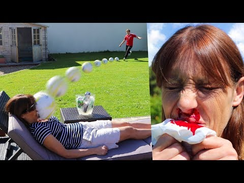 Thumbnail: KICKING A FOOTBALL AT MY MUMS FACE!! (Broken Nose)