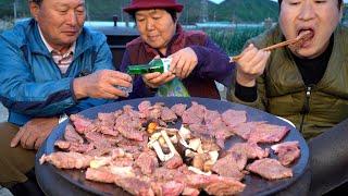 솥뚜껑에 바로 구워 바로 먹는 한우 소고기 6종 부위 …