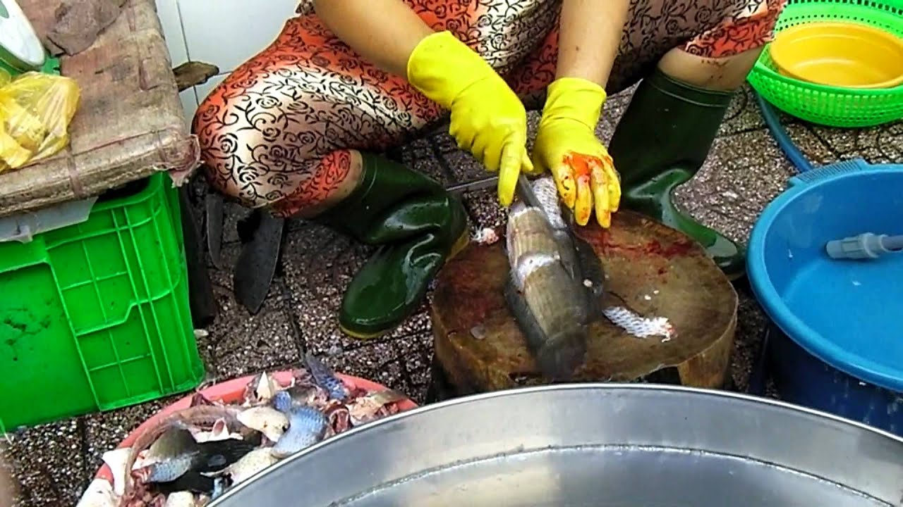 Skillful worker in the fish market in vietnam doovi for Fish in vietnam