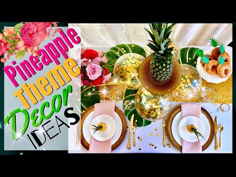 Pineapple Decor Party Ideas | Tropical Hawaiian Pineapple Table