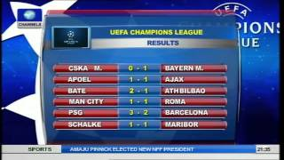 Sports Tonight: Champions League Results And Fixtures