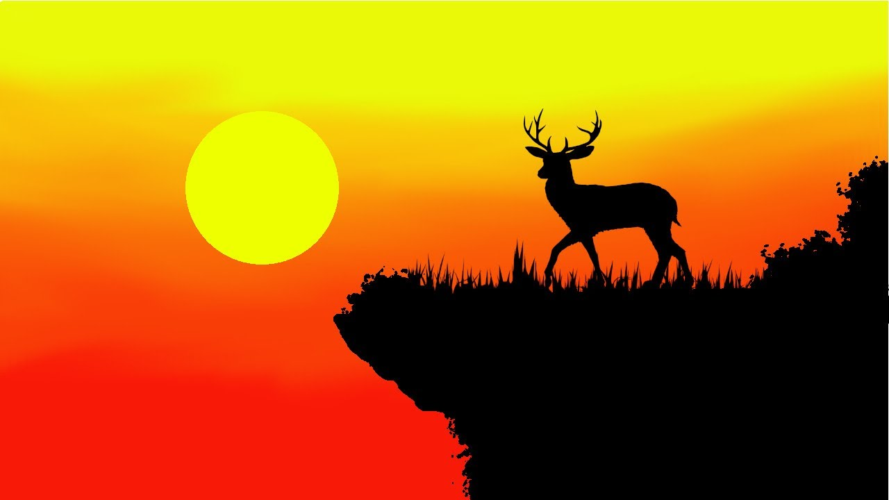 sunset deer digital painting ,speed art gimp tutorial
