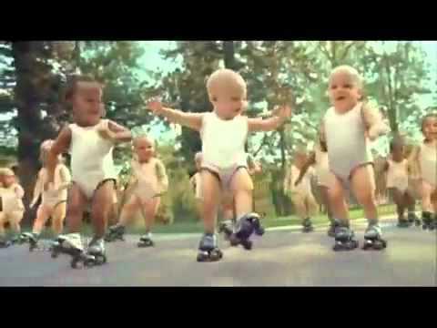 Evain Water advert Roller Skating Dancing Babies Michael Jackson song 123 ABC