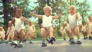 Evain Water advert Roller Skating Dancing Babies Michael Jackson song 123 ABC