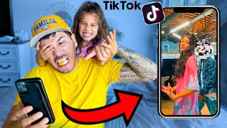 DAD Reacts to 12 Year old Daughter's Private TIKTOKS!!   Familia Diamond