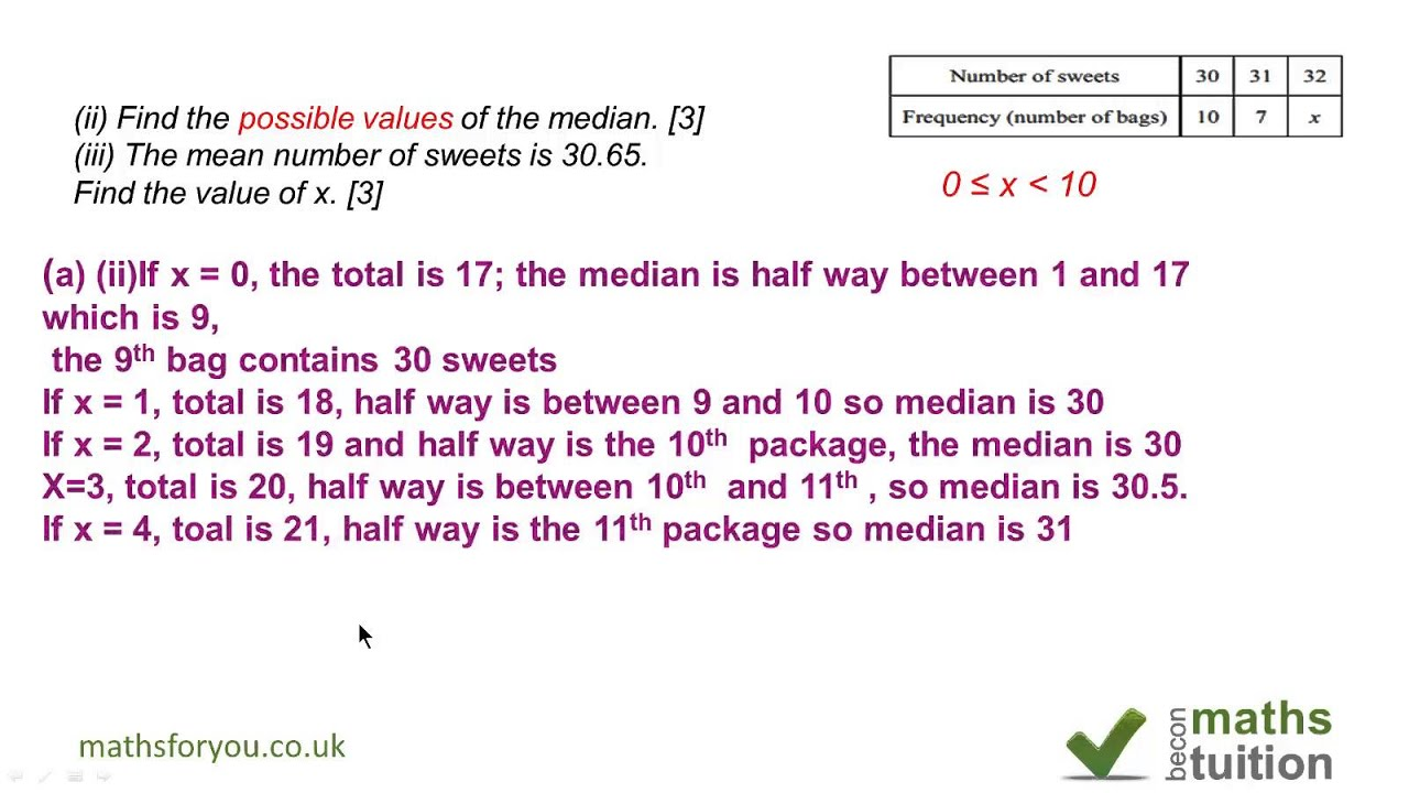 Median, mode, mean frequency density - iGCSE / GCSE / 9th Grade maths ...