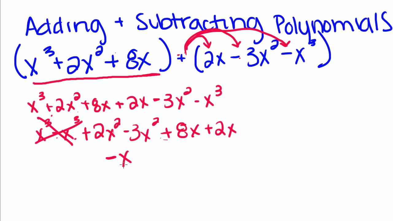 Algebra Tutorial 13 Adding and Subtracting Polynomials YouTube – Subtracting Polynomials Worksheet