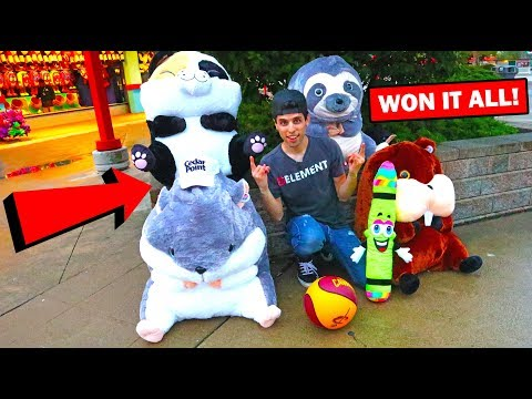We Found The Easiest Carnival Game In The World! Won TONS!