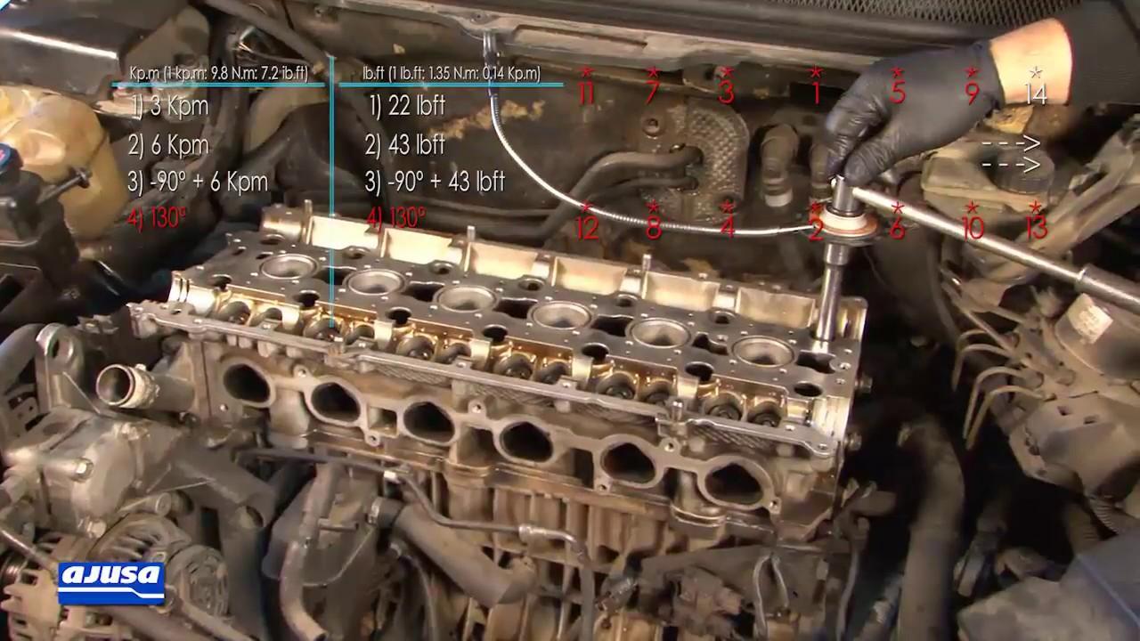cylinder head gasket assembly - montaje junta culata volvo s80 i 24v  (b6304s3)
