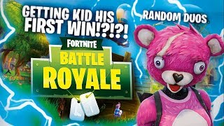 GETTING KID HIS FIRST WIN!?!?! | Random Duo's (Fortnite: Battle Royale)