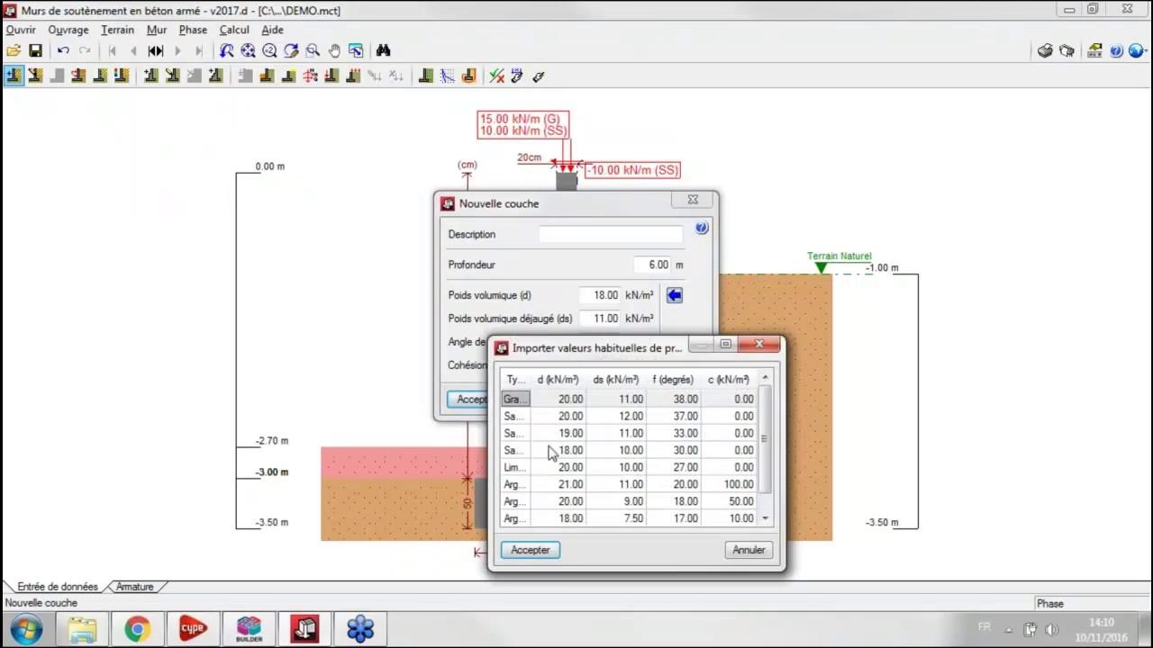 logiciel mur de soutenement en béton armé gratuit