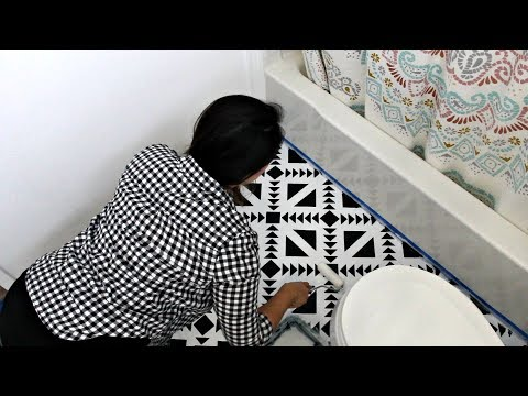 How to Stencil Black & White Floor Tiles for DIY Bathroom Makeover & Flooring Remodel