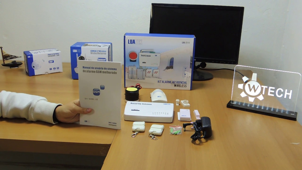 Kit de alarme residencial gsm sistema wireless sms luatek youtube