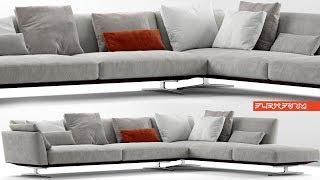 """№150. Sofa modeling """" Flexform evergreen """" Autodesk 3ds Max & marvelous designer"""
