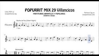 29 Popurrí Mix Villancicos Partituras de Fliscorno Noche de Paz Gatatumba Los Peces en el Río