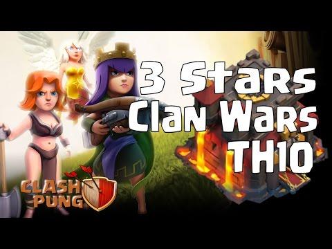 3 Stars Clan Wars Queen Walk + Valkyrie Attack TH10 Clash of Clans