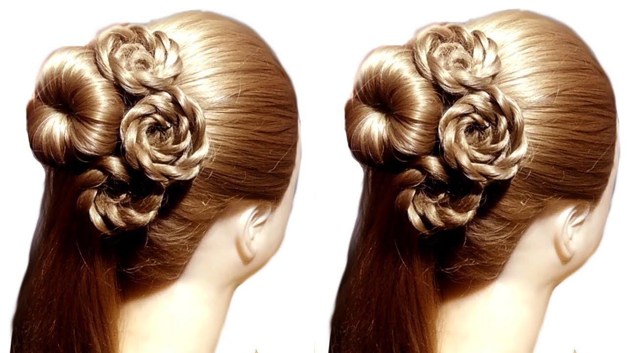 Very Easy Flower bun hairstyle for wedding | latest hairstyle | hairstyle 2019 | easy hairstyles