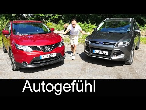 Comparison test new Nissan Qashqai vs Ford Kuga (Escape) compact SUV driven FULL REVIEW