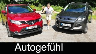 Comparison test new Nissan Qashqai vs Ford Kuga (Escape) compact SUV driven FULL REVIEW