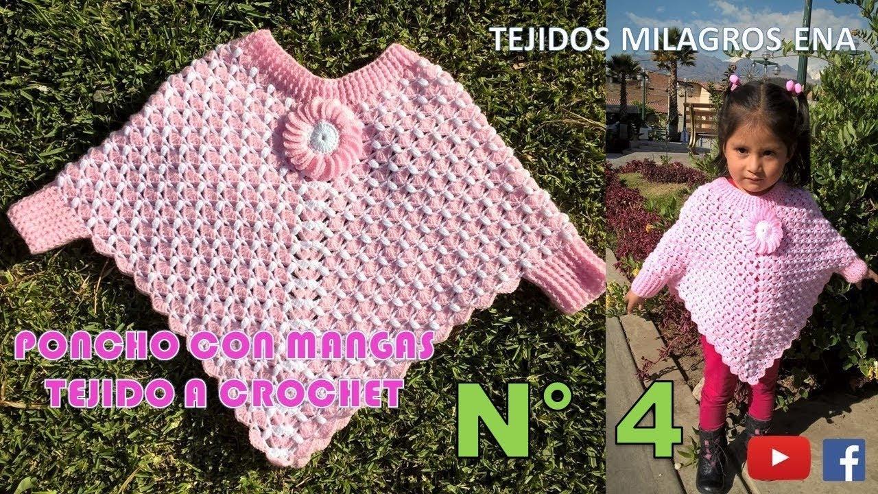 Poncho con Mangas tejido a crochet en punto ABANICOS combinado con ...