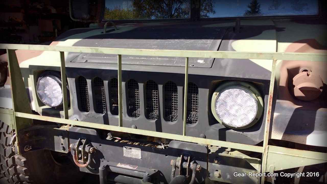 humvee or military vehicle upgrade hmmwv led headlights m35a2 led headlights gear report [ 1280 x 720 Pixel ]