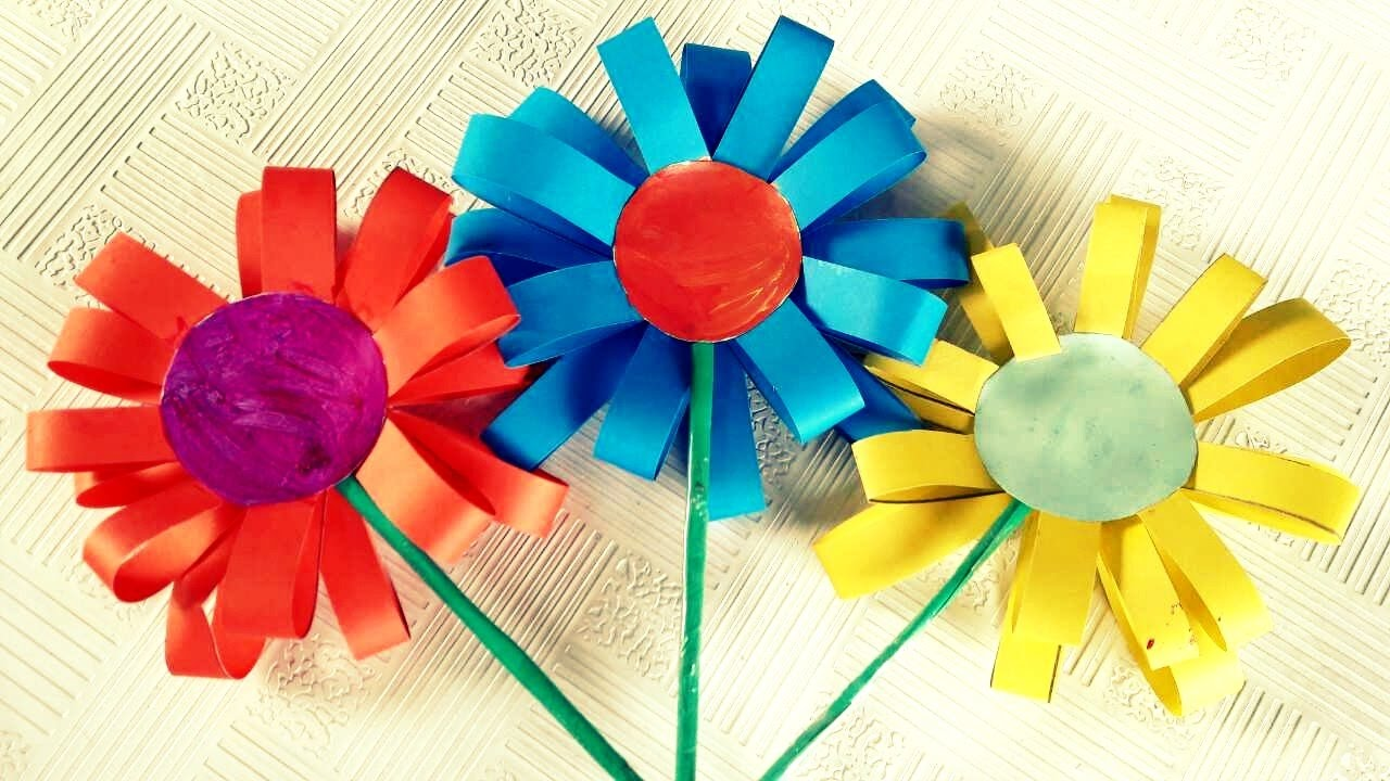 How to Make Paper Flowers For Kids - YouTube