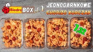 Prosty JEDNOGARNKOWY Kurczak CHORIZO z ryżem  - LunchBOX na 4 dni - 893 kcal