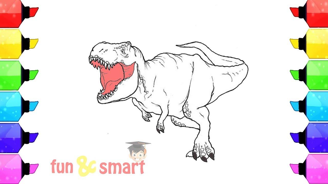 Cara Mewarnai Gambar Dinosaurus T-Rex - YouTube