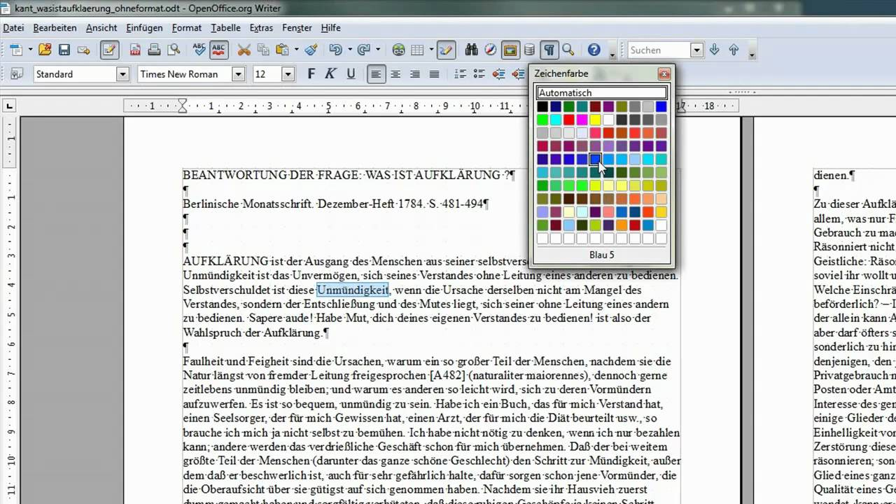 05 eine schriftfarbe w hlen openoffice libreoffice writer youtube - Openoffice or libre office ...